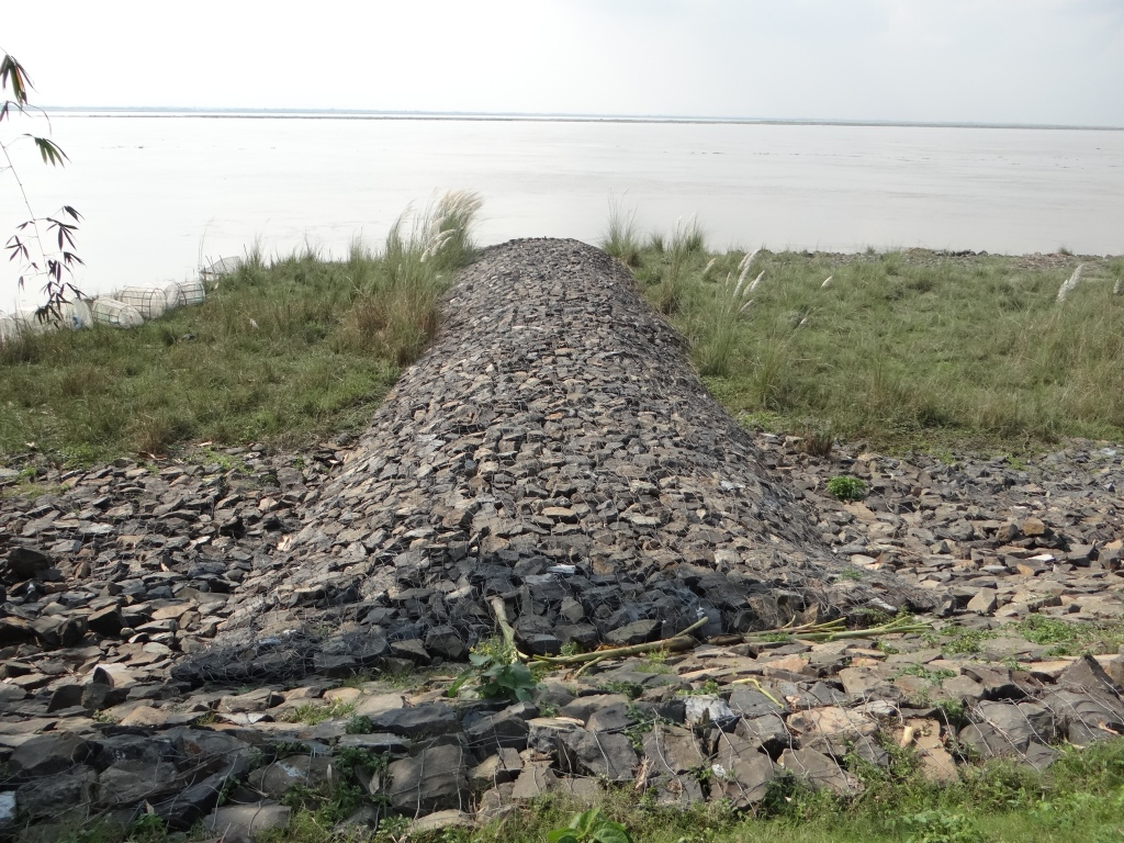 Anti erosion works upstream of Farakka Barrage Photo: Author