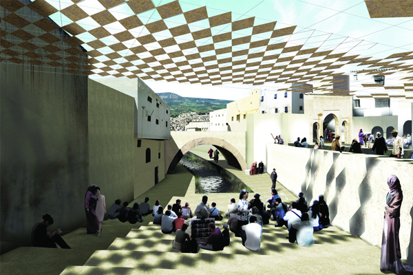 Impression of the resuscitated Fez River in the heart of the city Photo: Aziza Chaouni Projects