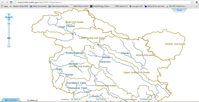 Flood Forecast map of CWC has no sites to forecast floods in J & K
