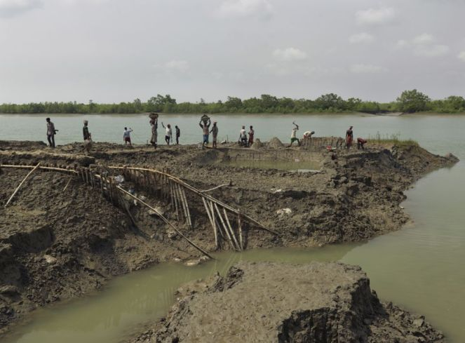 The mud men of the Sunderbans, trying to repair their river banks. Photo Peter Caton