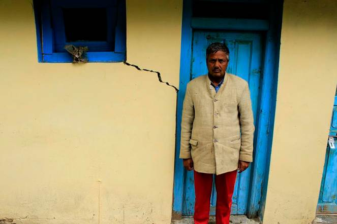 Jyoti Prakash's house in Yulla village suffered from cracks because of the tunnel construction of Karcham Wangtoo HEP