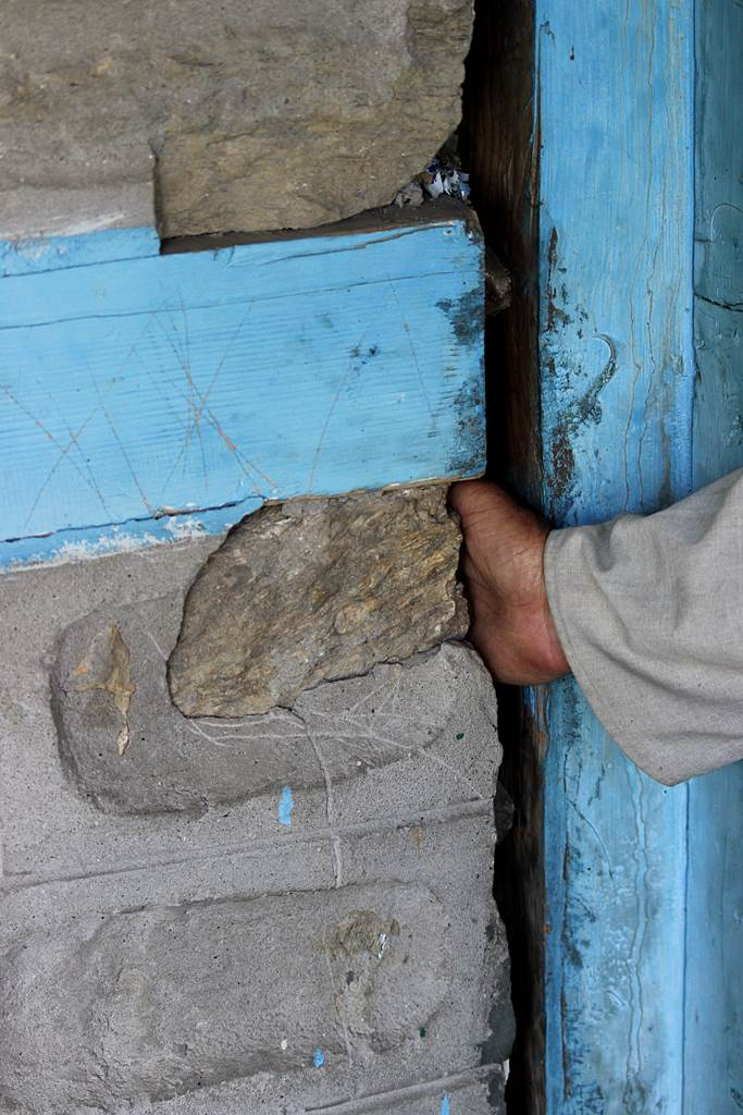 Ramanand's House in Urni village which has developed cracks and crevices due to the blasting and construction of tunnel for Karcham Wangtoo Project