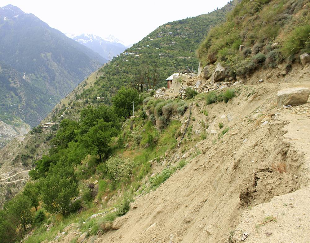 Landslide just above the tunnel of Karcham Wangtoo project at Rangle. This was also activated lst year during the monsoons