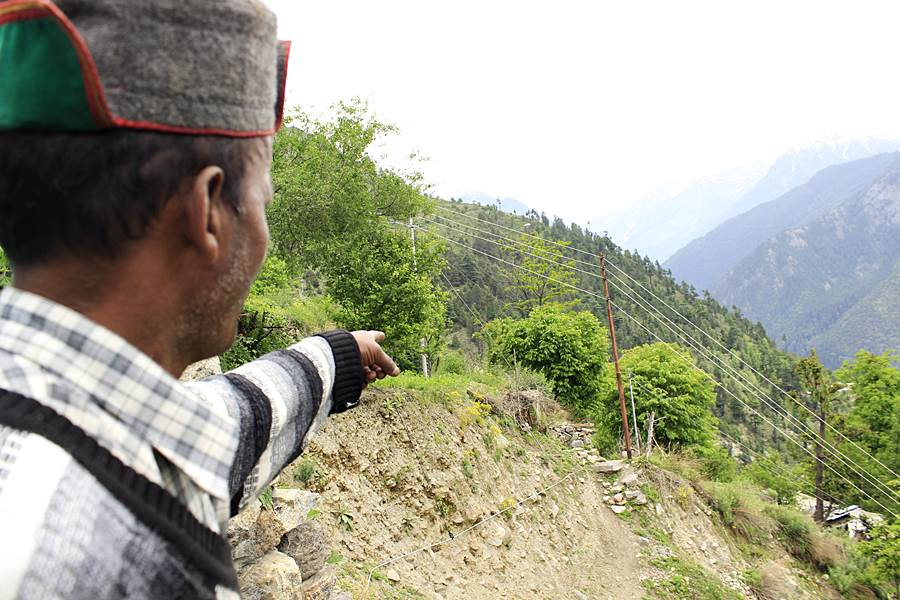 Land slide at Meeru village activated last year and the main path of the village disturbed