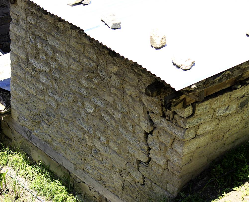 Cow shed developed cracks in Chugaun affected by Karcham Wangtoo Project's tunnel construction