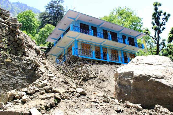 Geeta Ram's house affected by the landslide at Nigulseri