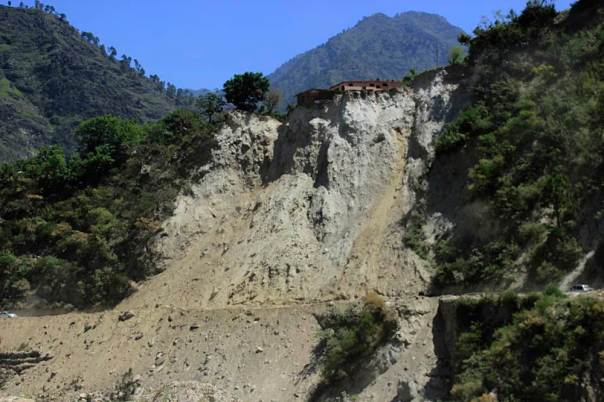 This landslide has occurred near powerhouse of the Nathpa Jhakri project in Jhakri