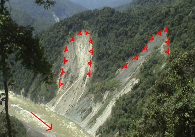 Active Lanslide  zone in submergence area of Dibang Project (Source - EIA)