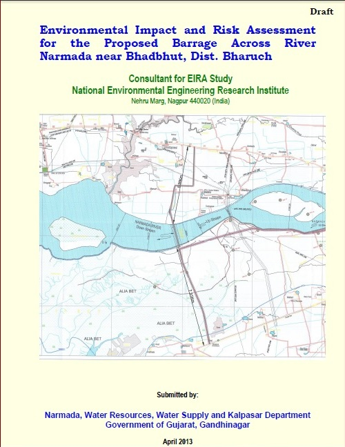 Cover Page of the controversial NEERI EIA of  Bhadbhut Barrage Project