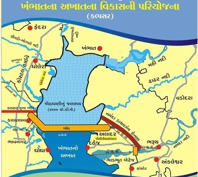 Gujarat Government Map showing Kalpasar and Bhadbhut project locations