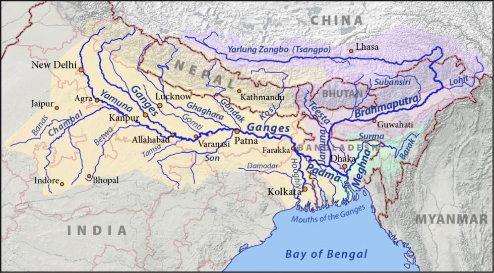 Ganga river basin (Source: http://en.wikipedia.org/wiki/Ganges_Basin)