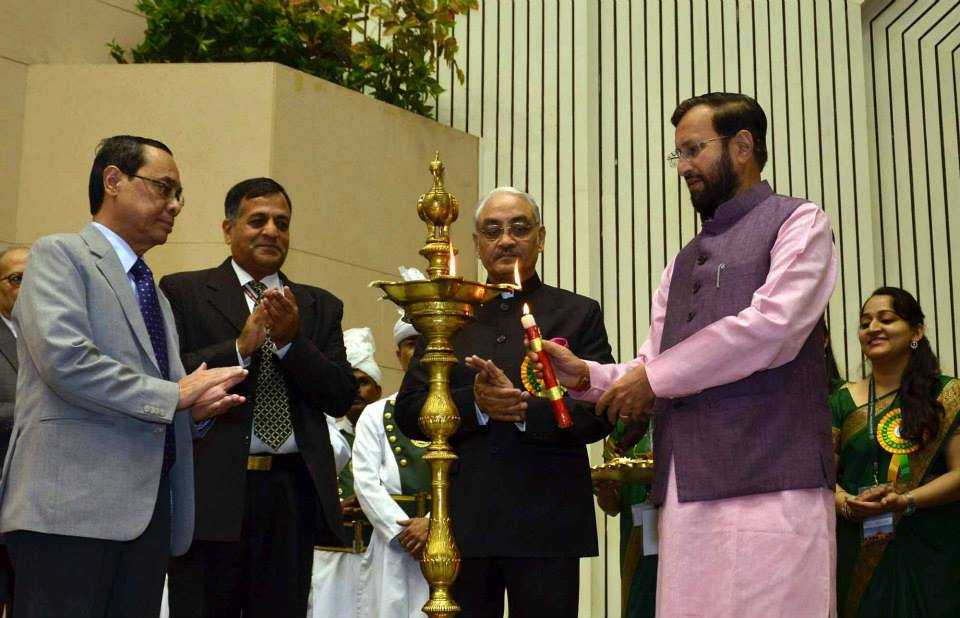 The Minister of State for Environment, Forests and Climate Change (I/C), Shri Prakash Javadekar lighting the lamp at the 4th Foundation Day function of the National Green Tribunal, in New Delhi on October 18, 2014. The Secretary, Environment, Forests and Climate Change, Shri Ashok Lavasa and the Judge, Supreme Court of India, Mr. Justice Ranjan Gogoi are also seen (Source: FB page of I&B Ministry)