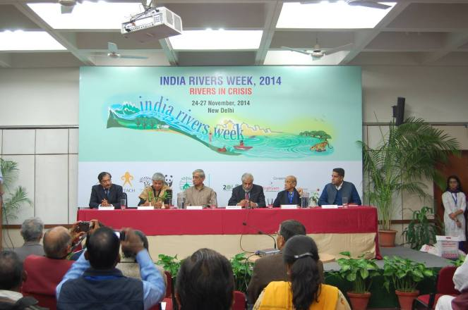 Dignitaries on the dias to give away the first Bhagirath Prayas Samman Photo: India Rivers Week