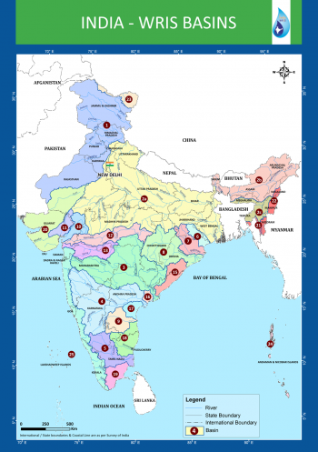 India River Basins Map (Source - WRIS)