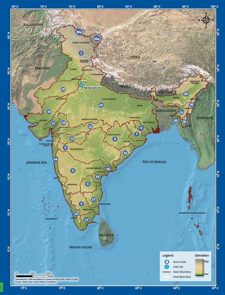 Basin Map Of Rivers By Central Water Commission