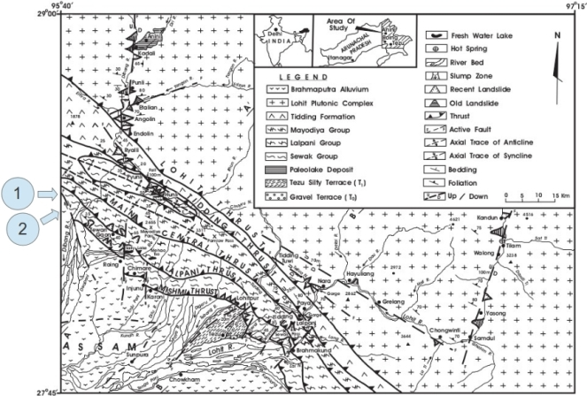 Figure 1 (reproduced from Misra, 2009) showing the location of the fault lines around the proposed project site. 1 is the location of the Fault line and 2 is the location of the proposed site.