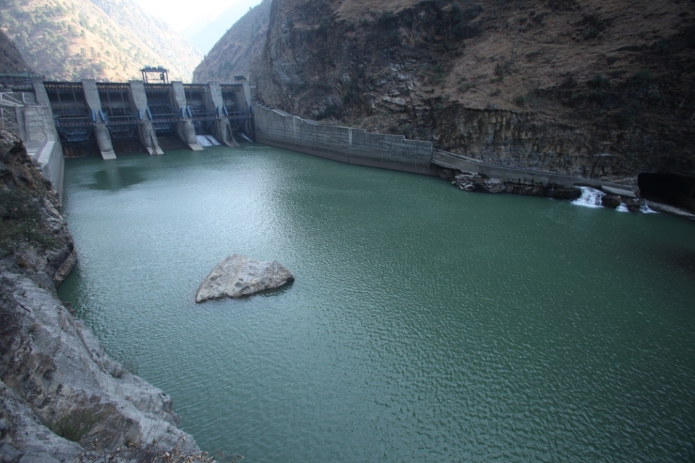 Larji Dam - about 100 m long fishladder channel can be seen on the right side