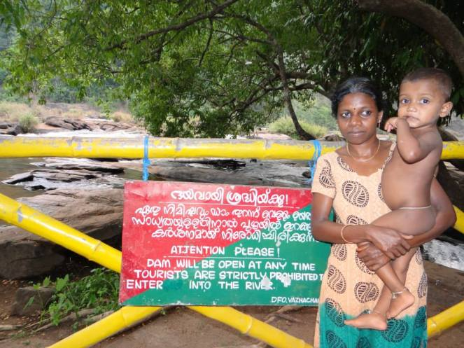 Geeta ji, the petitioner for Athirappilly Project in the backdrop of the falls. Photo: Parineeta Dandekar