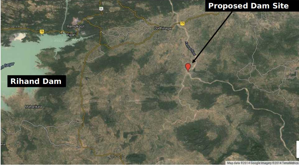 Google Earth Image showing the proposed dam site