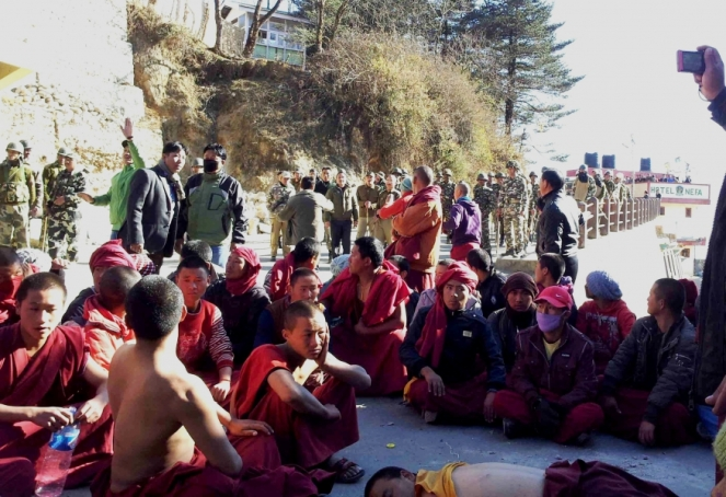 Monks protesting against dams in Tawang Region in Arunachal Pradesh Photo: Urmi Bhattacharjee