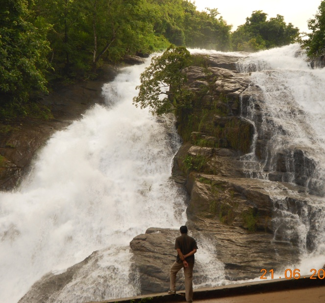 Shripad Dharmadhikary at Vazachal rapids, also threatened by the Athirappilly project Photo: Himanshu Thakkar