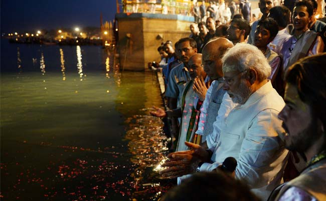 Prime Minister Modi on Ganga Banks at Varanasi (NDTV photo)