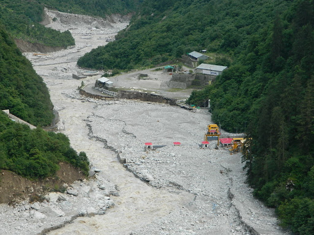 440 MW Vishnuprayag HEP post 2013 disaster in Uttarakhand. The project, its operation and location   added significantly to disaster in the downstream. Photo: Matu JanSangathan