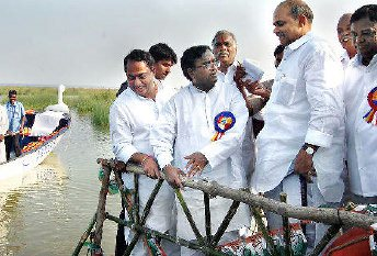 Dr. Y.S. Rajasekhar Reddy at the dam site