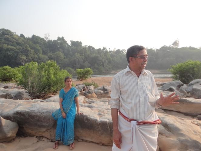 Karunakar Gogate showing submergence area of Kukke I MHP in Western Ghats Photo: Parineeta Dandekar