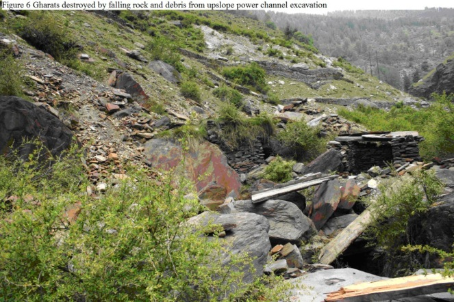 Gharat ( water powered mills) destroyed due to power canals of MHPs in Himachal Pradesh Photo: Mark Baker from: https://sandrp.wordpress.com/2014/06/08/the-socio-ecological-effects-of-small-hydropower-development-in-himachal-pradesh/