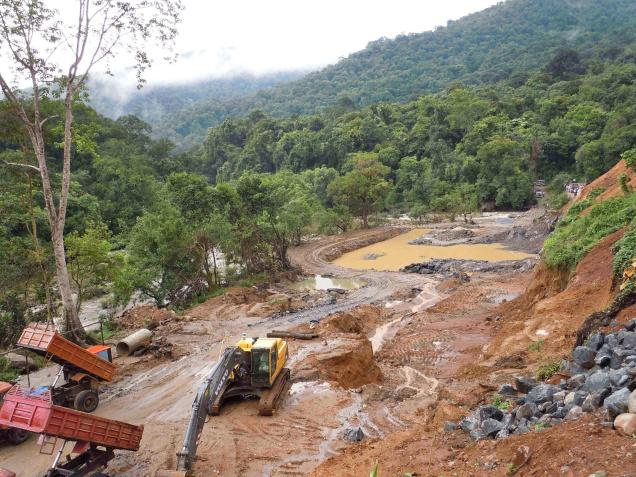 Deforestation by fradulent Maurthi Gen Hydro Projects in the heart of Western Ghat Forests Photo: Sanjay Gubbi