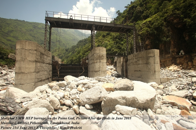 Damages to Gangani Mini Hydel Project, Uttarakhand, which resulted in floods and disaster in the downstream Photo: Yamuna Jiye Abhiyan