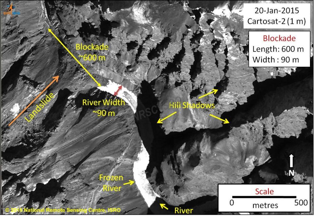 Landslide Dam blocks Zanskar River tributary, threatens Valley (1/5)