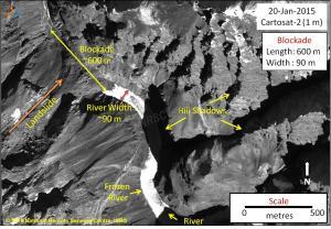 Detailed image of Phutkal Landslide Dam from NRSC on Jan 20, 2015