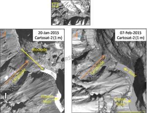 NRSC latest (Feb 7 2015) image of the Phutkal landslide