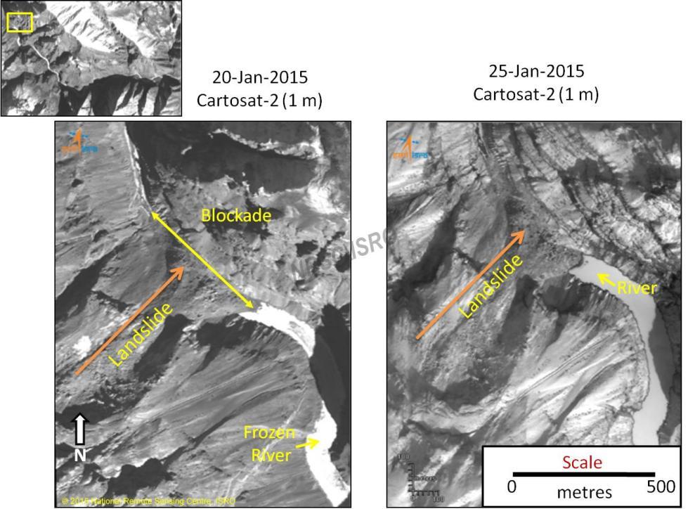 Comparative NRSC images of Phutkal Landslide dam for Jan 20 & 25, 2015