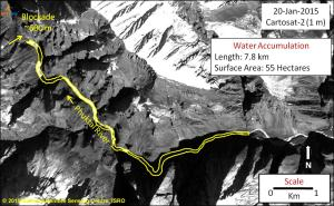 NRSC water accumulation  image of Phutkal Landslide Dam on  January 20, 2015