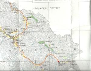 Tsarap Landslide location and floodpath: Map by SANDRP based on Kargil District Map from NATMO
