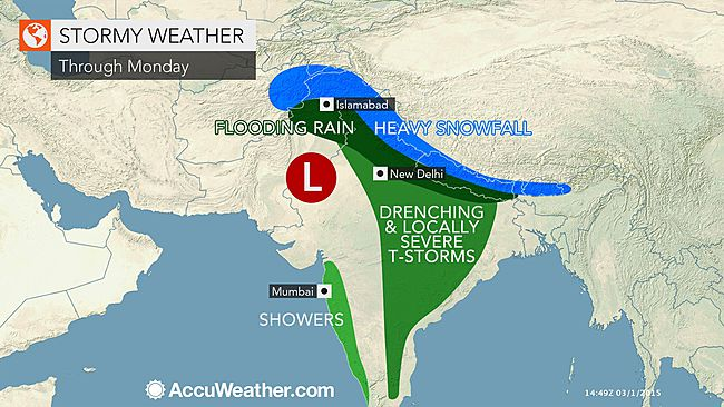 Accuweather image predicting rain, snow and thunder in early spring in India