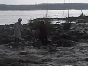 Old poor couple mourning the damaged crop on Yamuna River bed in Yamuna Nagar Dist