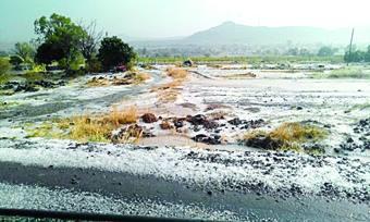 Solashi Village in Satara under hail Photo: Agrowon