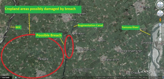 Possible Breach Site & Affected Area (Goggle Imagery)