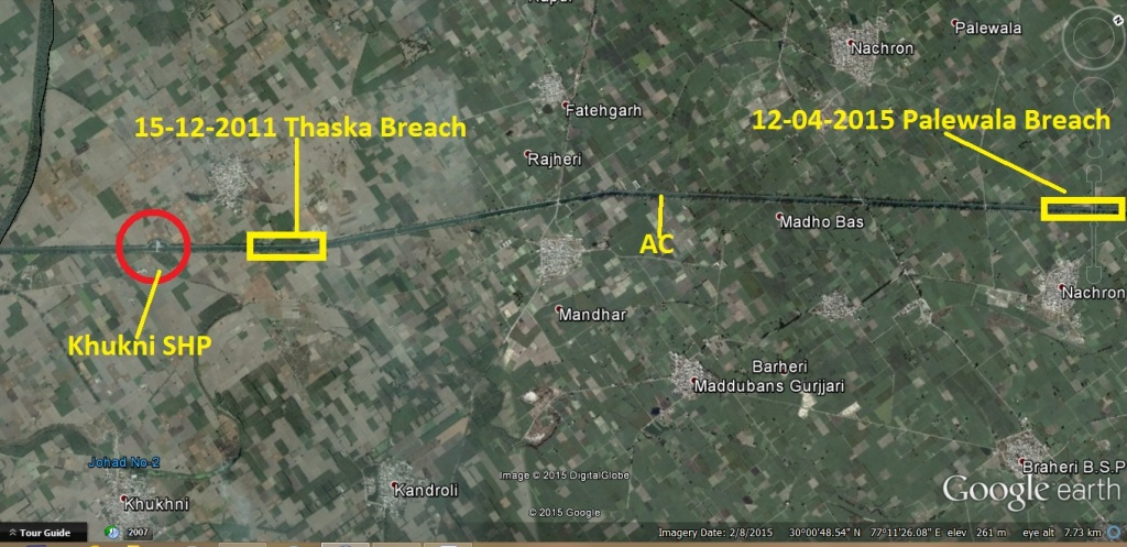 Two breaches locations upstream Khukni SHP