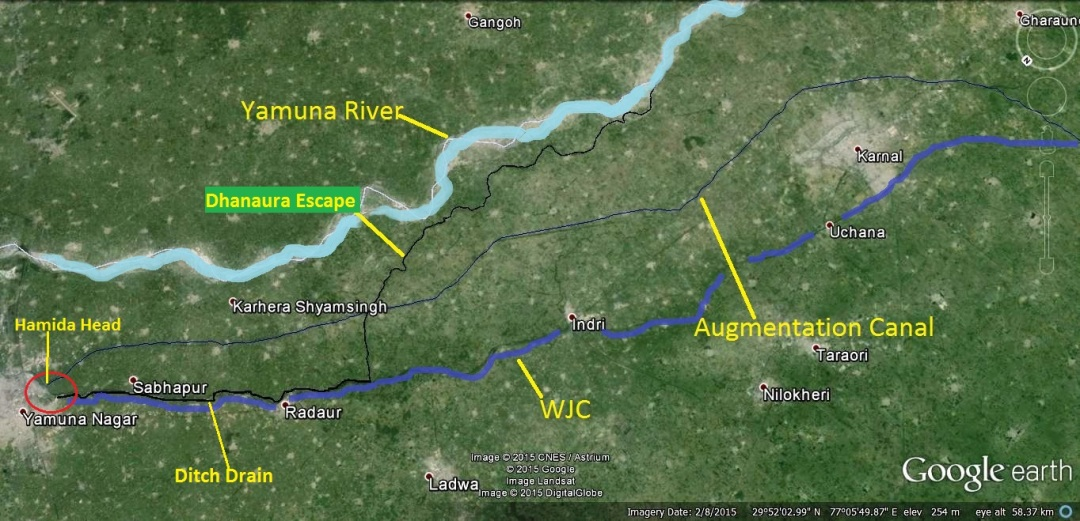 Dhanaura Escape (Black Line, it also carries effluents brought by Ditch drain, which is not visible on this map) & Augmentation Canal (Blue Line) polluted and potable water in different directions, both ultimately reach Delhi