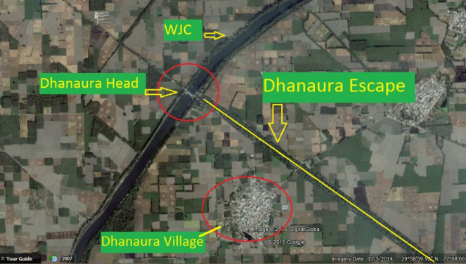 Dhanaura Head & Escape at the outskirt of Dhanaura village, Yamuna Nagar (Imagery 11 Aug. 2014)