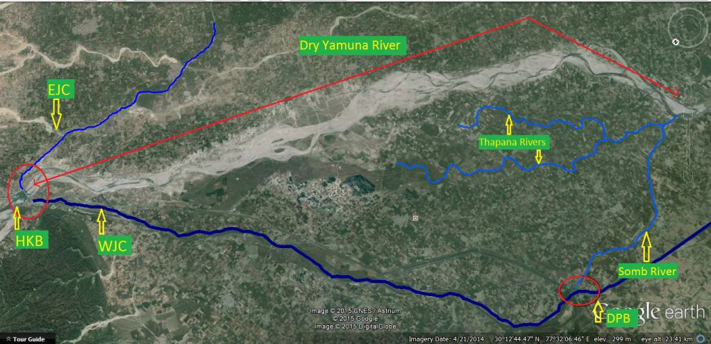 Dry Yamuna River (21 April 2014 exactly one year back) Downstream HKB, Somb and Thapana reviving it downstream Dadupur Barrage
