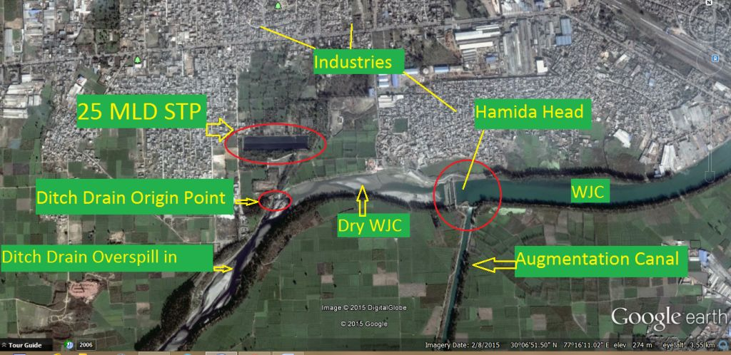 Hamida Head and Ditch Drain, Yamuna Nagar (Imagery 08 Feb. 2015)