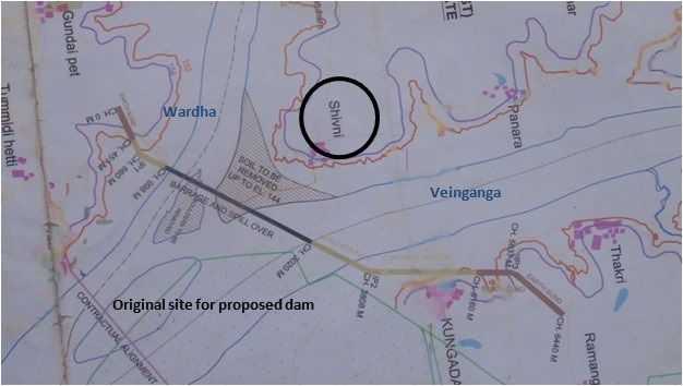 Map showing location of Shivni and the proposed dam on Pranahita (Photo: SANDRP)