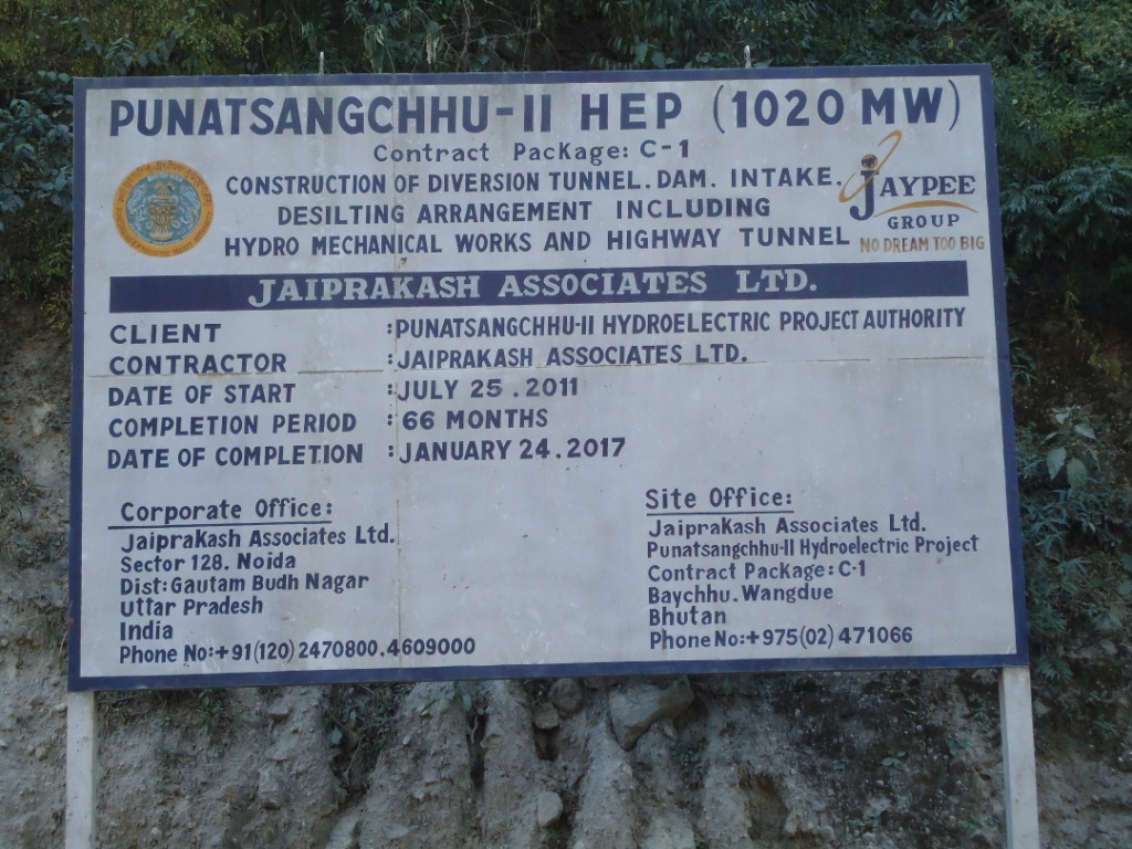 Board giving details of the under construction Punatsangchu II Hydropower Project