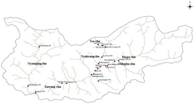 Map of Tawang Basin indicating location of planned projects ( from CIA Report)